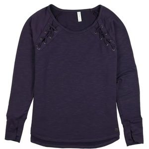 Ideology Solid Lace-Up Long Sleeve Top Purple